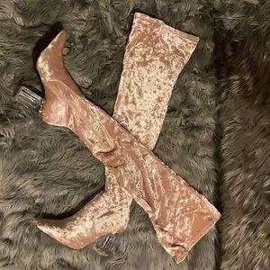 Blush pink thigh high boots